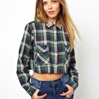 ASOS Cropped Shirt with Sequin Collar in Check Print - Check