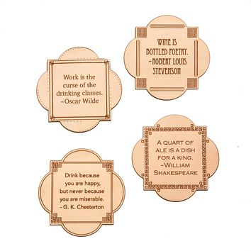 Leather Quote Coasters Set (Literary Spirits)