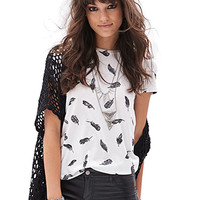 FOREVER 21 Feather Print Tee White/Black