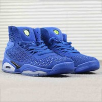 Jordan Fashion new knit running sports high top air cushion shoes men Blue