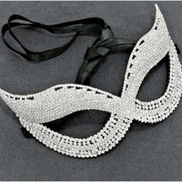 Melia Cluster Cat Eye Masquerade Mask | Crystal | Silver