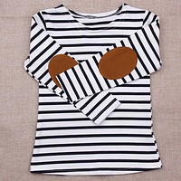 Girls Long Sleeve Striped Cotton T-shirt With Elbow Patch