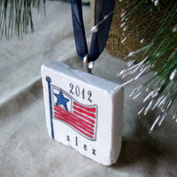 Personalized USA Flag Ornament, including Gift Box