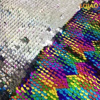 Rainbow Reversible Mermaid Sequin Fabric by the Yard African Fabric Sequin Applique Tissu Dress Decoration Tela lentejuelas
