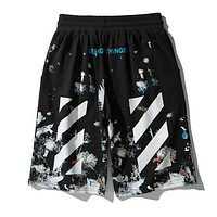 OFF WHITE Summer Men Women Casual Print Sport Beach Shorts