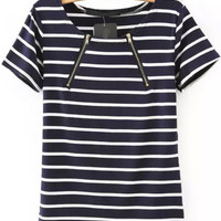 White and Blue Short Sleeve Zip Up Striped Blouse