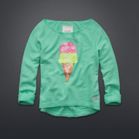 Ice Cream Graphic Off-The-Shoulder Sweatshirt