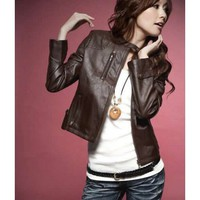 Stand Collar Long Sleeve Ladies Coffee Locomotive Faux Leather Coat One Size @YIF10515c - Women's Clothing
