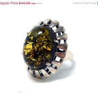 Sterling Silver Amber Ring - Modernist Style