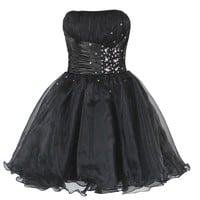 Faironly Black Mini Short Homecoming Prom Dress (XXL)