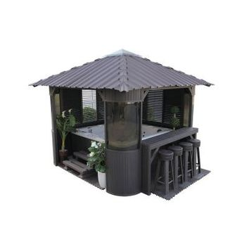 Canadian Spa Company Fraser 10 ft. Synthetic Charcoal Gazebo-CSCGZFRG - The Home Depot