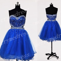 2014Beads Crystals Road Blue Sweetheart Ball Gown Short Bridesmaid Cocktail Dress,Tulle Formal Evening Party Prom Dress New Homecoming Dress