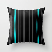 Charcoal Gray/Teal/Black Vertical Stripes Throw Pillow by Lyle Hatch