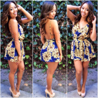 Indie Backless Romper - Navy | Fashion Nova