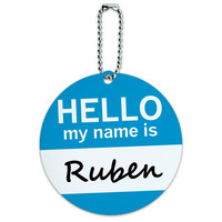 Ruben Hello My Name Is Round ID Card Luggage Tag