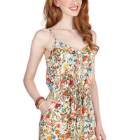 Boho Long Spaghetti Straps Jumper Smile With Me Romper in Floral