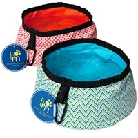 Collapsible Travel Bowls by barker & meowsky at barker & meowsky a paw firm since 1998 carries dog clothes, dog accessories, dog carriers, dog collars, dog toys, dog beds and dog treats
