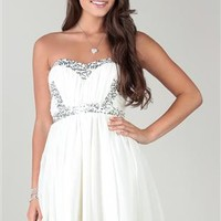 chiffon strapless sweetheart body, with sequin trim, and an empire high low hem