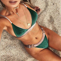 Hot New Arrival Swimsuit Beach Summer Sexy Swimwear Velvet Bikini [9893985869]