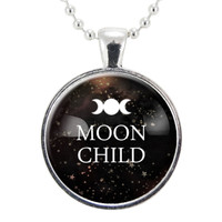 Moon Child Necklace, Gypsy Moon Jewelry, Gothic Quote Witch Pendant