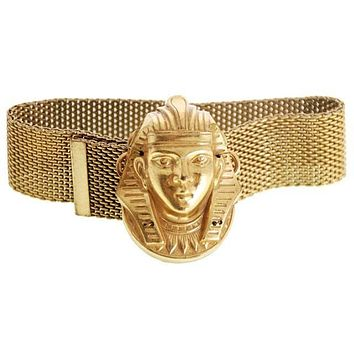 Vintage Miriam Haskell Egyptian Revival Pharoah Head Slide Bracelet Russian Gold
