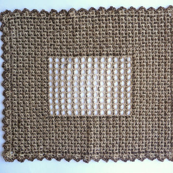 Golden and Beige Table Cloth - Handmade Vintage Doily