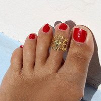 Vintage Hollow Flower Toe Ring For Women Sexy Silver Gold Europe Popular Beach Foot Ring Jewelry