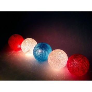 Blue Sky, Red and White Cotton Ball String Lights Patio Wedding and Party Decoration (20pcs./set)