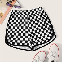 Checker Print Dolphin Hem Shorts Women Sporty Mid Waist Shorts Casual Elastic Waist Plaid Shorts