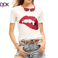 DIDK Women Casual Tops 2016 New Arrival Fashion With Sequined Sparkely Glittery Cozy Costume Lip Print White T-shirt