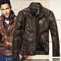 Vintage Mandarin Collar Leather Jackets