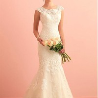 [239.99] Glamorous Tulle Scoop Neckline Mermaid Wedding Dress With Sequin Lace Appliques - Dressilyme.com