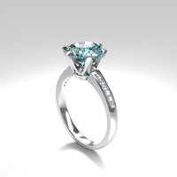 2.22ct Aquamarine engagement ring, diamond ring, white gold, light blue, aquamarine solitaire, unique engagement ring, diamond, blue ring,