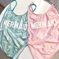 Mermaid vintage one piece swimsuit Suit- High Cut Vintage Swimsuit - One piece - Swimwear Women's Sexy Bathing Suit by CakeLife®