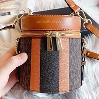 Hipgirls MK Michael kors New fashion more letter leather shoulder bag crossbody bag handbag Brown