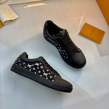 2021 LV Louis Vuitton Women Leather HIGH Top Sneakers Shoes BLACK