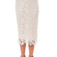 Ivory Floral Lace Pencil Skirt