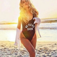 NO FUCKS GIVEN Skinny bikini swimsuit swimsuit