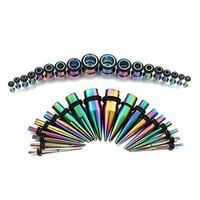 Vcmart Rainbow Titanium Ear Gauges Kit 36 Pieces Stainless Steel Tapers with Plugs 14G - 00G Stretching Kit - 18 Pairs