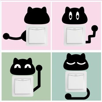Removable cartoon black kitten switch stickers [10147889287]