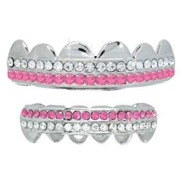 Silver Plated 2 Row Pink Silver Plated Grillz Set