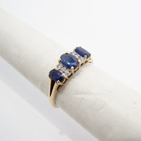 Sapphire Ring Three Stones with Diamonds set in Gold September Birthstone size 6.5