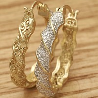 Gold Filled Womens Hoop Earring, with White Crystal,  By Folks Jewelry.