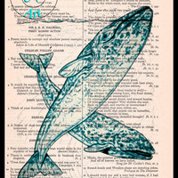 Aqua Duo Whales Art Beautifully Upcycled Vintage Dictionary Page Book Art Print, Sea Life Print