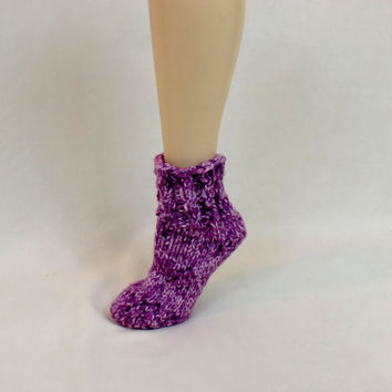 Super Thick House Lounge Sock Slippers Pink Cable Knit Leg Warmer Boot