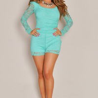Long Sleeve Cream Mint Lace Romper