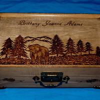 Personalized Jewelry Box Wood Burned Jewelry Holder Bear Engraved Jewelry Organizer Mountains Trees Rustic Wood Gift Anniversary Gift