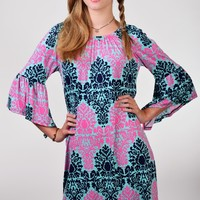 The Hanger Mint, Navy,and Pink Damask Print Bell Sleeve Dress
