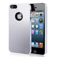 i-Blason Metallika Series Ultra Slim Fit Case Cover Brushed Aluminum Finish With Logo Opening for Apple iPhone 5 AT&T, Sprint, Verizon 4G LTE with Bonus Screen Protector Retail Packaging (Silver)   AihaZone Store