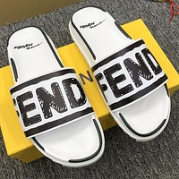 FENDI new men and women couple slippers fashion casual trend one-word Shoes